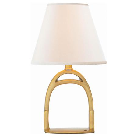 go home equestrian stirrup lamp finished brass with shade
