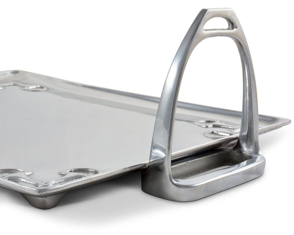 arthur court equestrian horse stirrup large silver serving tray