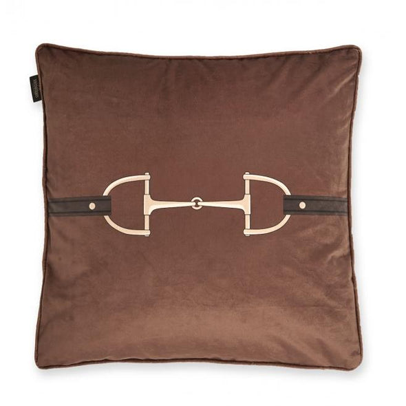 equestrian velvet throw pillow horse bit