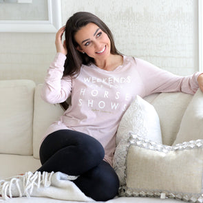 stylish equestrian pullover pink weekends are for horse shows