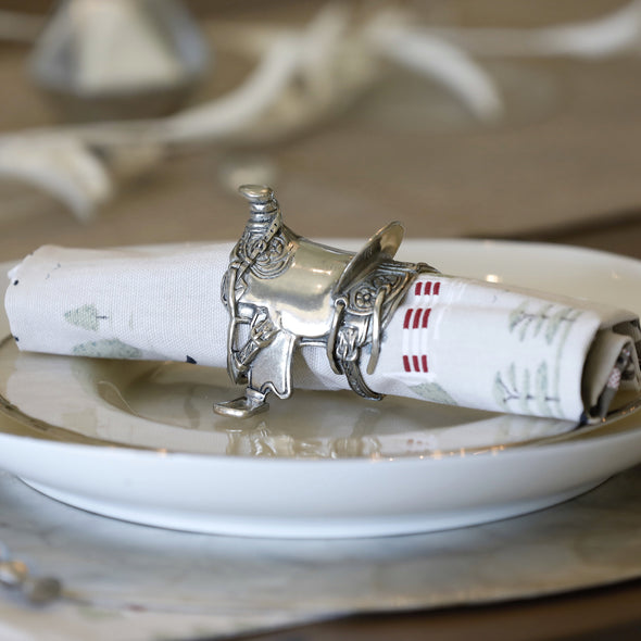 Equestrian Western Saddle Napkin Ring Silver Arthur Court
