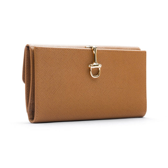 sage brown london willa large wallet in saffiano cross leather with equestrian snaffle bit clasp