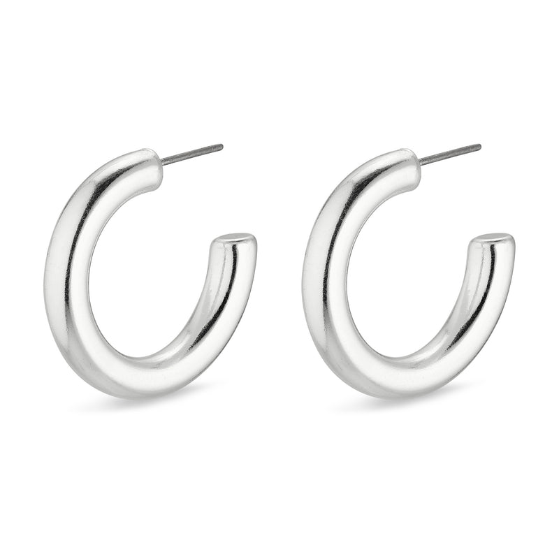 Maddie Medium Silver Plated Hoops