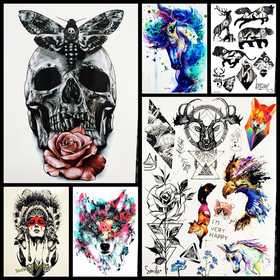 Waterproof Temporary Tattoo Sticker Full Arm Large Skull Old School Tatto Hb577 Death Body Leg
