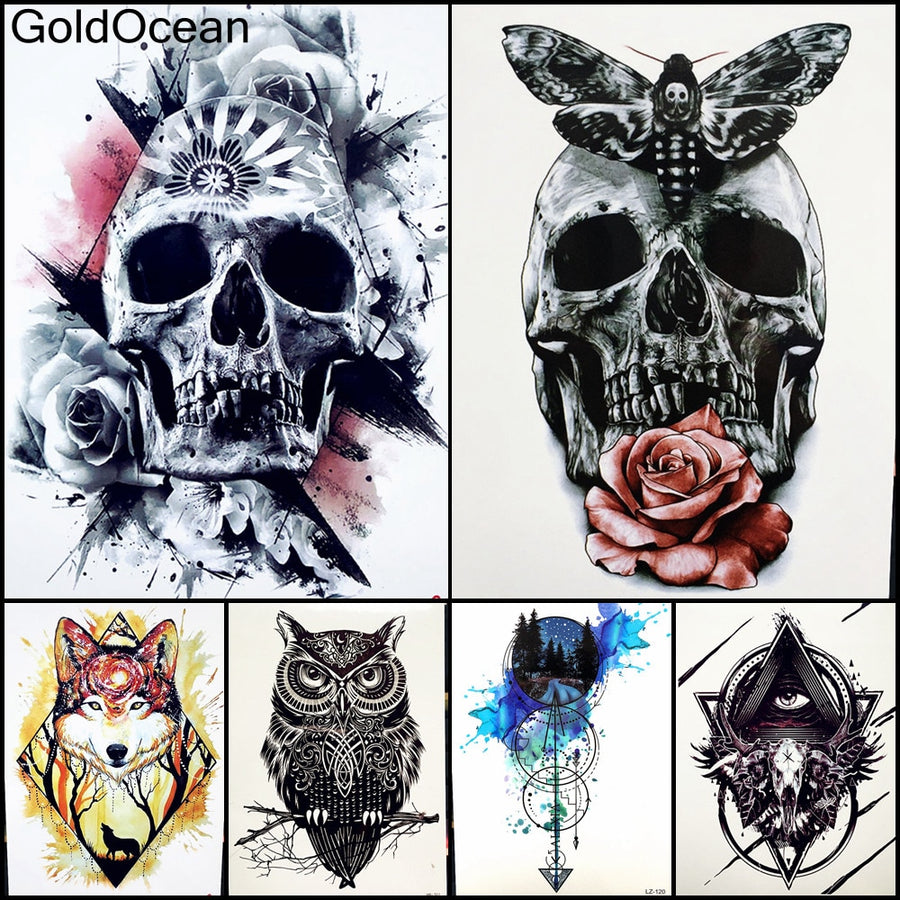 Waterproof Temporary Tattoo Sticker Full Arm Large Skull Old School Tatto Hb577 Henna Body Art Fake Stickers Clock