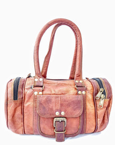 "'Hazel'  12"" Handmade Leather Duffle Bag"