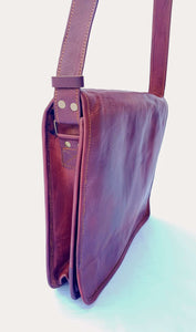 'Olive' Handcrafted Leather Laptop Bag