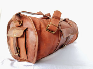 "'Fern' 22"" Handcrafted Leather Duffle Bag"