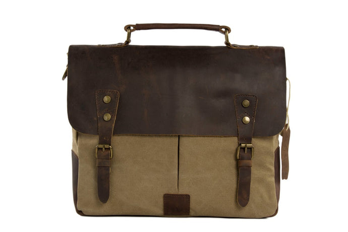 'Dahlia' Handcrafted Leather & Canvas Laptop Bag
