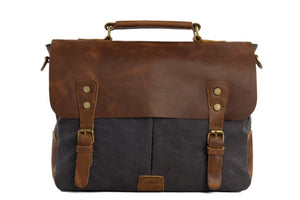 'Crocus' Handcrafted Leather & Canvas Laptop Bag