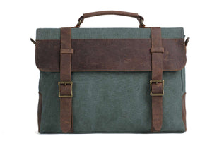 'Aster' Leather & Canvas Laptop Bag