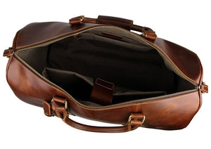 'Hemlock' Genuine Full Grain Leather Travel Bag with Wheels