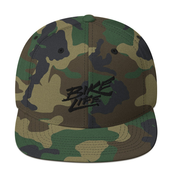 Bike Life Unisex Snapback - Black 3D Embroidery