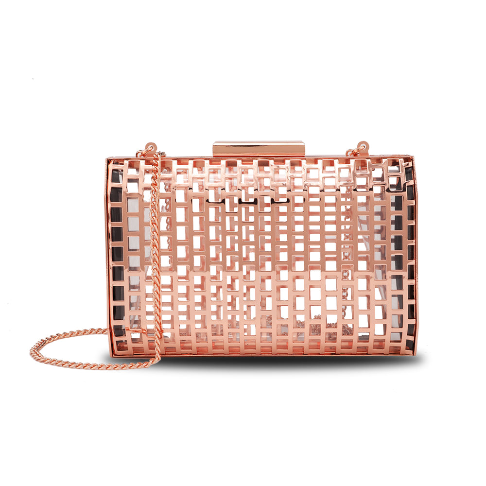 Gold Hollow Out Cage Evening Clutch Bags