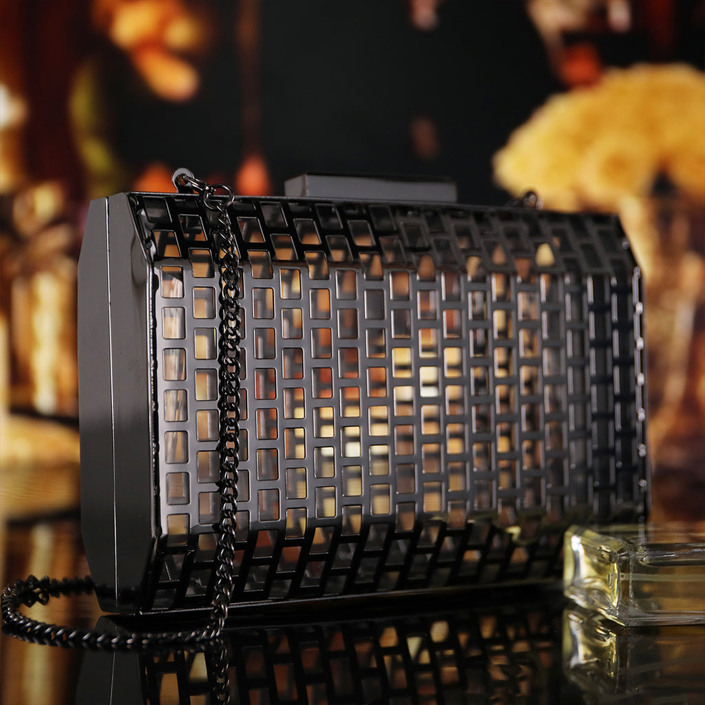 Black Hollow Out Cage Evening Clutch Bags