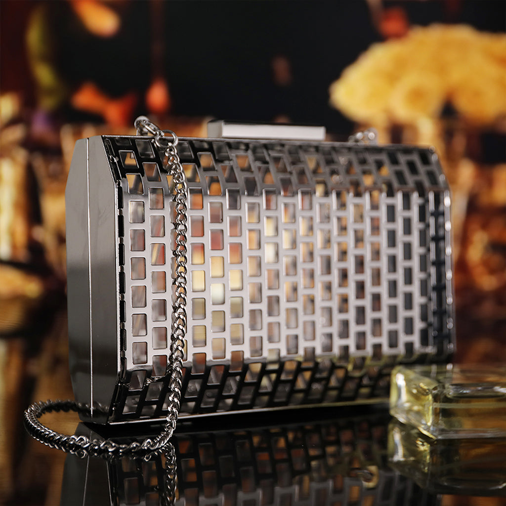Silver Hollow Out Cage Evening Clutch Bags