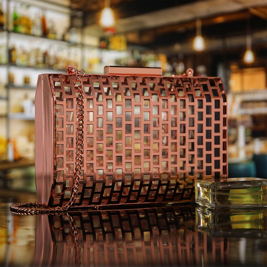 Rose Gold Hollow Out Cage Evening Clutch Bags