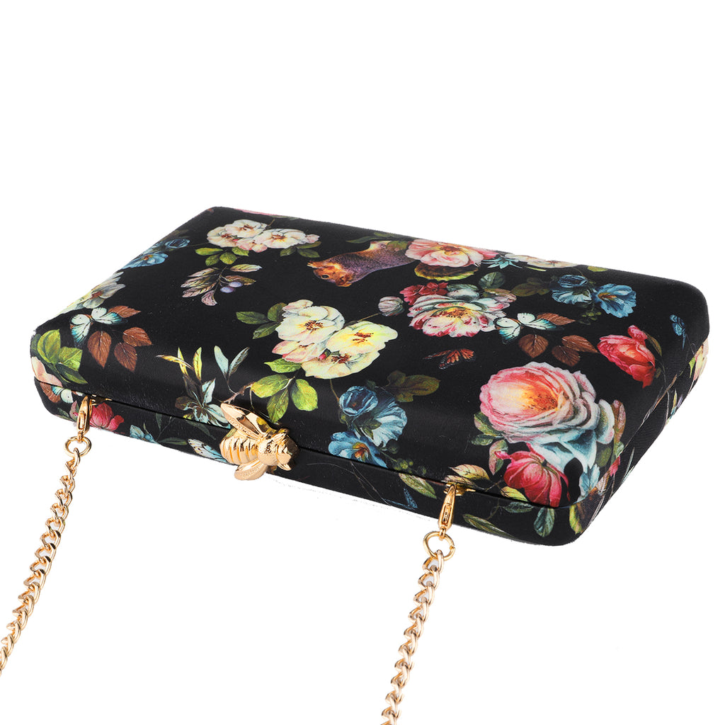 Floral Pattern Evening Bags in Champagne