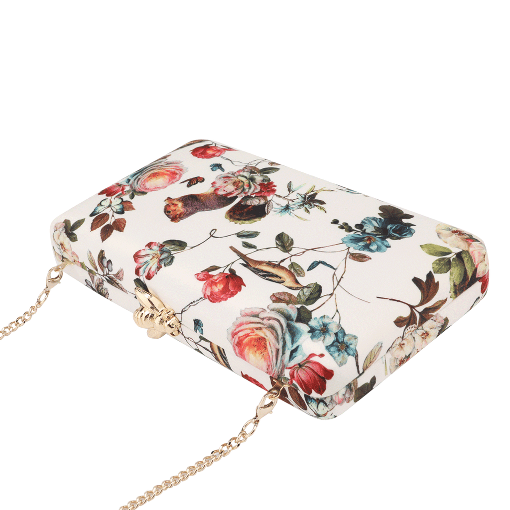 Floral Pattern Evening Bags in White