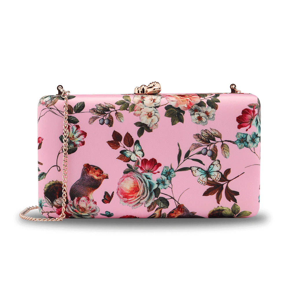 Floral Pattern Evening Bags in Pink