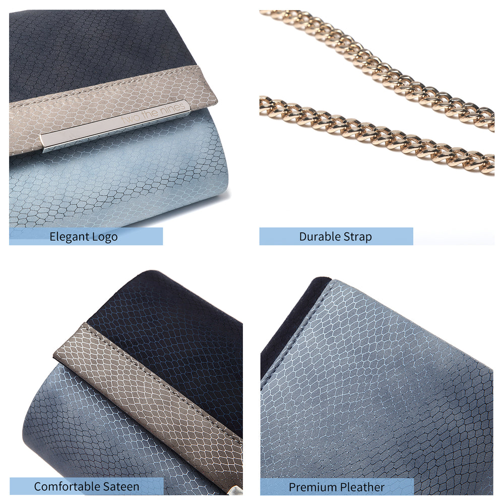 Multicolored Evening  Clutch Bags in Blue