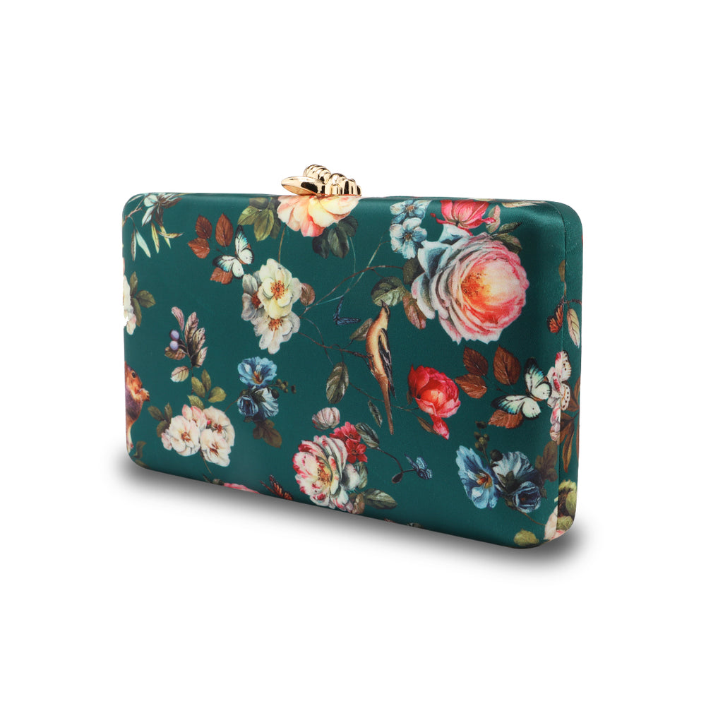 Floral Pattern Evening Clutch Bags in Blue