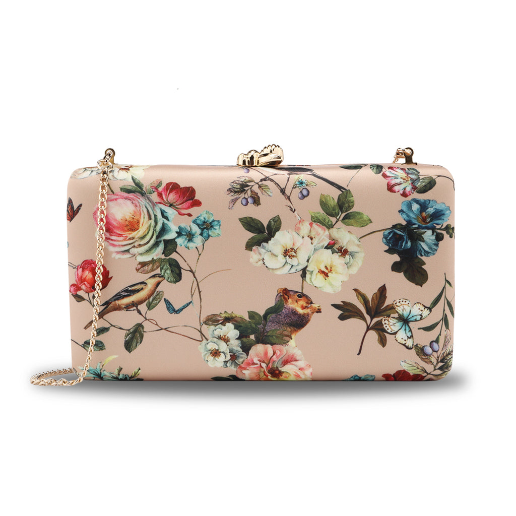 Floral Pattern Evening Bags in Yellow