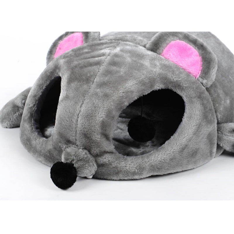 Grey Mouse Shape Bed For Small Cats Dogs
