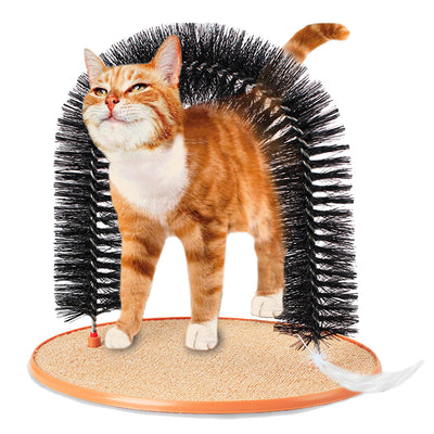 Good Arch Pet Cat Self Groomer With Round Fleece Base