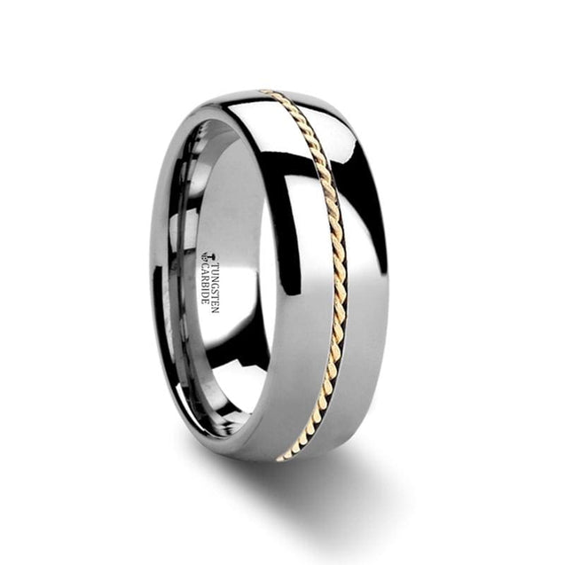 14k Gold Braided Inlaid Center Domed Tungsten Wedding Band - 6mm & 8mm