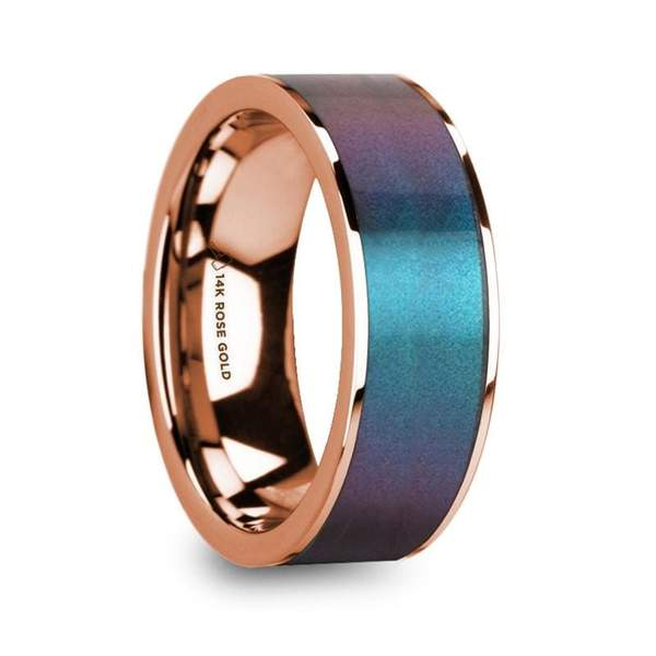 Men's 14k Rose Gold Wedding Ring with Blue & Purple Color Changing Inlay - 8mm