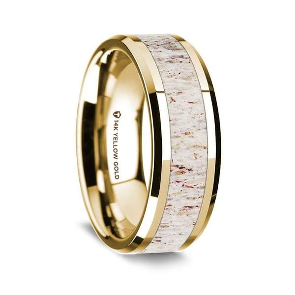 Men's 14K Yellow Gold Wedding Ring W/ White Deer Antler Inlay & Beveled Edges - 8mm