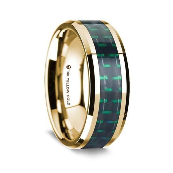 14K Yellow Gold Men's Wedding Ring w/ Green Carbon Fiber Inlay Beveled Edges -8 mm