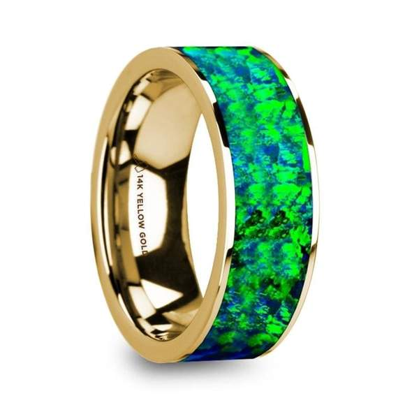 Men's 14K Yellow Gold Wedding Ring w/ Emerald Green Blue Opal Inlay Flat Polished - 8mm