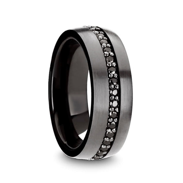 MAGUS Gunmetal Tungsten Wedding Band with Black Sapphires Grooved Center 8mm