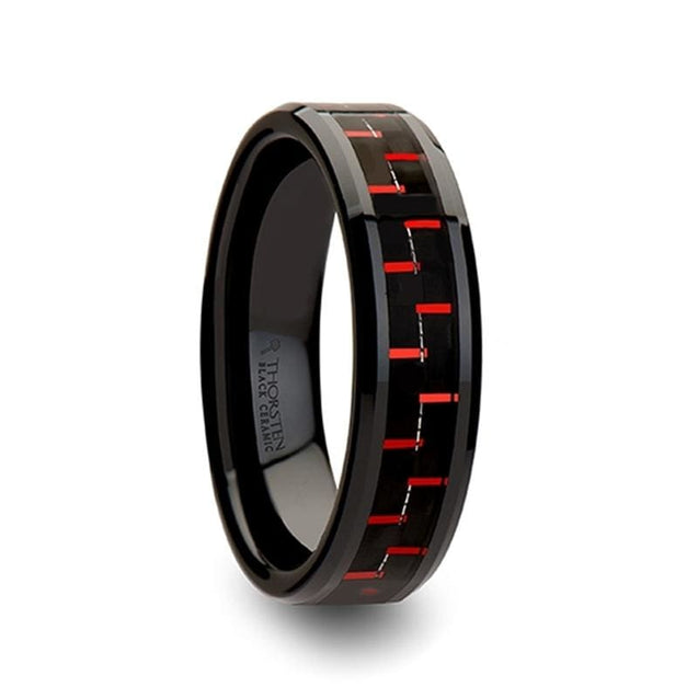 Acelynn Beveled Black & Red Carbon Fiber Inlaid Black Ceramic Ring 4 mm - 10 mm
