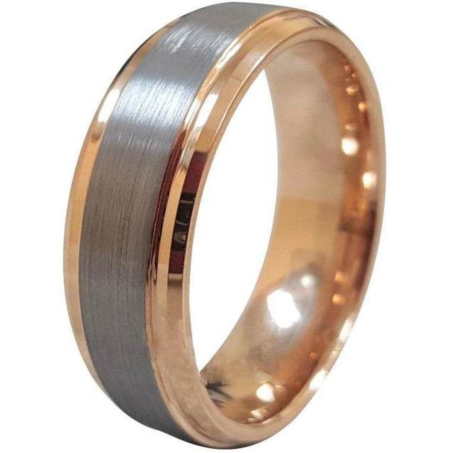 Achilles Tungsten Carbide Ring W/ Grey Brushed Center and Rose Gold - 6mm & 8mm