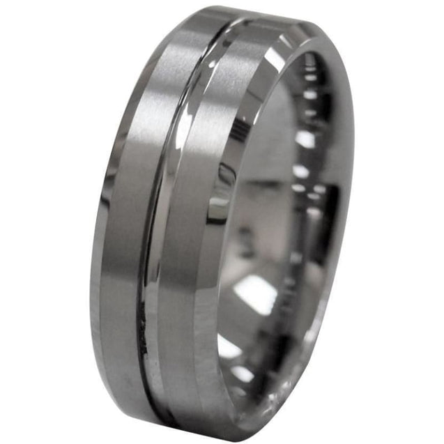 Achillios Tungsten Wedding Band With Beveled Edges And Grooved Center - 8mm