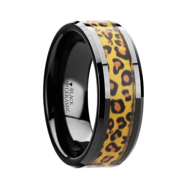 ADALYNN Black Ceramic Wedding Band & Cheetah Print Animal Design Inlay 6mm & 8mm