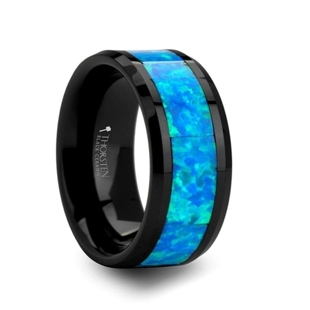 ADALYNN Men's Extra Wide Blue Green Opal Inlaid Black Ceramic Wedding Band - 10mm