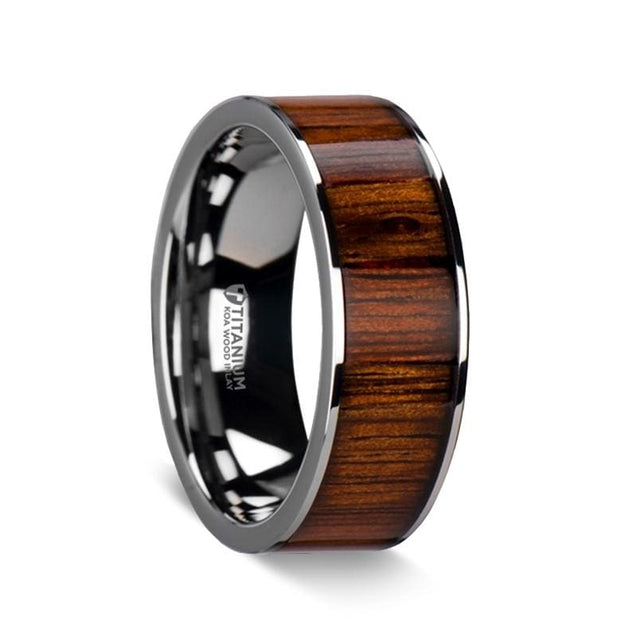 ADDISON Polished Edged Titanium Wedding Band with Rare Koa Wood Inlay - 8 mm