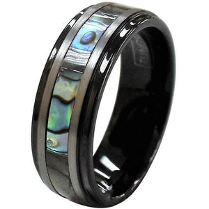 Comfort Fit 8mm Tungsten Flat Wedding Band Ring Inlaid Mother of Pearl Stripes