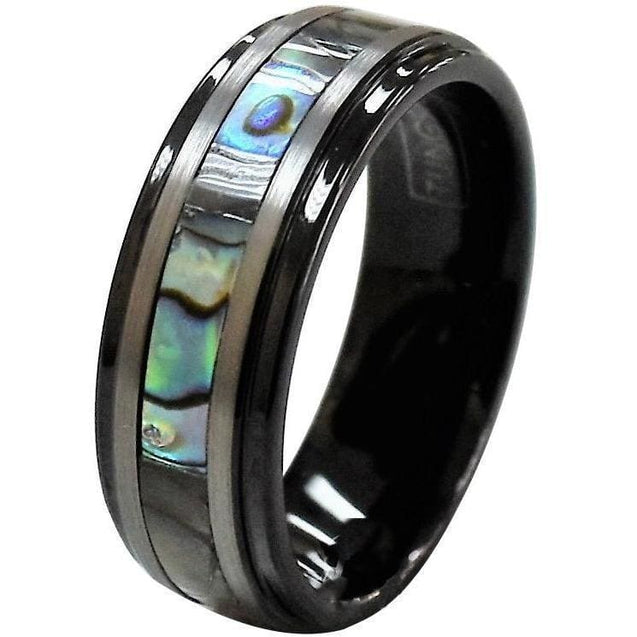 ADONIS Tungsten Carbide Wedding Ring With Silver Stripes and Abalone Inlay - 8mm