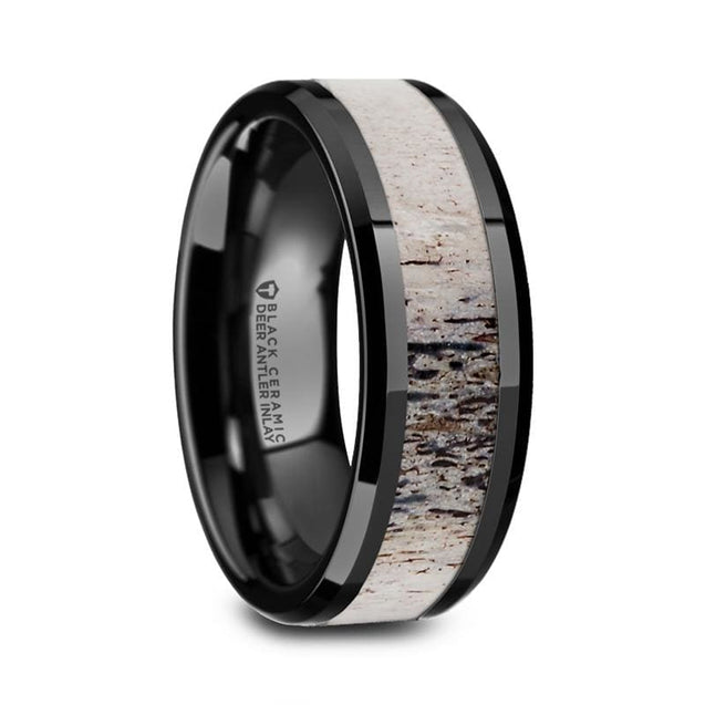 ADRIAN Men's Beveled Black Ceramic Wedding Ring with Ombre Antler Inlay - 8mm