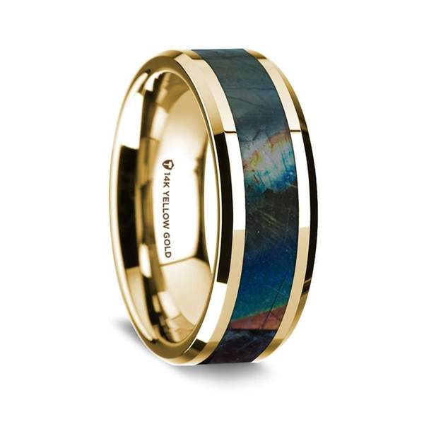 Aegeus 14K Yellow Gold Men's Wedding Ring with Spectrolite Inlay Beveled Edges - 8mm