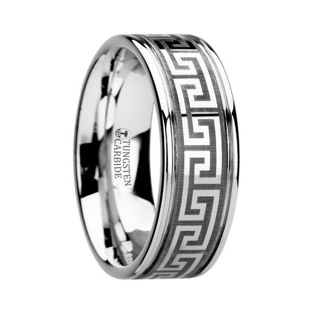 Aesop Grooved Tungsten Carbide Men's Band W/ Greek Key Meander Design - 8 mm