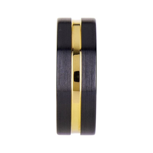 Agoyoanye Black Ceramic Wedding Band with Yellow Gold Grooved Center 6mm & 8mm