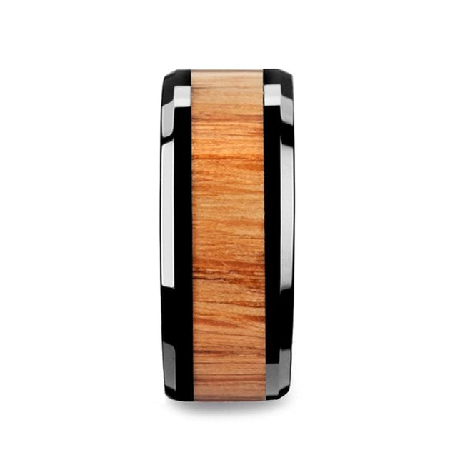Alain Black Ceramic Wedding Band with Red Oak Wood Inlay Beveled Edges - 10mm