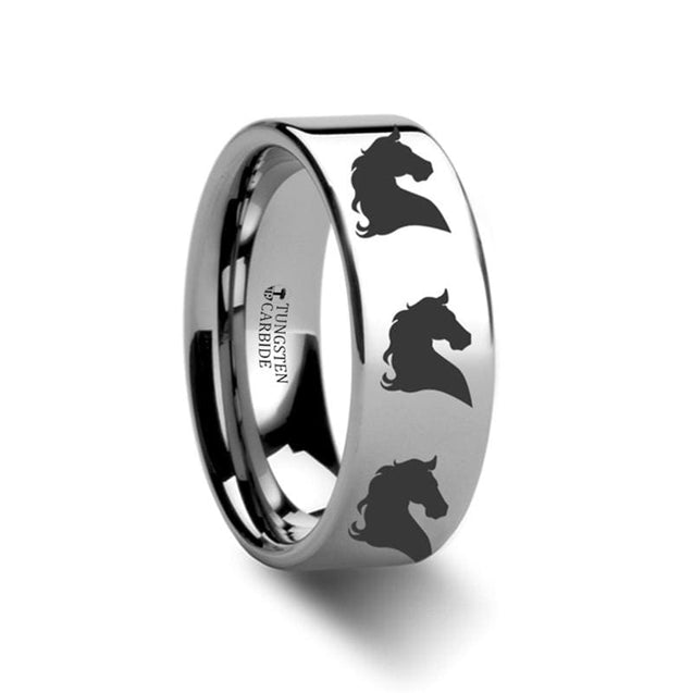 Animal Horse Print Engraved Pipe Cut Tungsten Carbide Ring Unisex - 4Mm - 12Mm - Tungsten