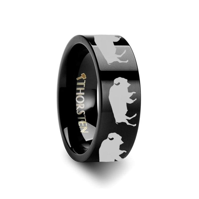 Animal Silhouette Buffalo Print Engraved Black Pipe Cut Tungsten Ring 4mm - 12mm